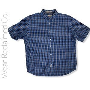 Men's RETREAT Blue Plaid Short Sleeve Button Down